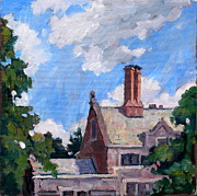 Thor Painting Originals - Bryn Mawr Rooftops by Thor Wickstrom