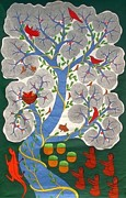 Gond Paintings - BS 34 Pandavas Under Doomar Tree by Bhajju Shyam