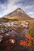 Water Over Rock Photos - Buachaille Etive Mor And The River Etive by Julian Elliott Ethereal Light