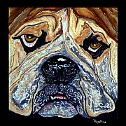 Bulldog Paintings - Bubba Bulldog by Richard Roselli