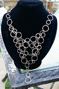 Silver Necklace Jewelry Framed Prints - Bubble Chain Framed Print by Susan Geluz