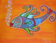 Claudia Tuli Metal Prints - Bubble fish Metal Print by Claudia Tuli