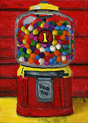 Bright Colors Metal Prints - Bubble Gum Bank Metal Print by Debbie Brown