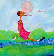 African-american Paintings - Bubble Gum Dreams by Charon Rothmiller
