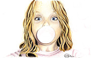 Blue Eyed Girl Prints - Bubble Gum Print by Heather Conversi