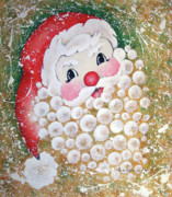 Chris Kringle Mixed Media Acrylic Prints - Bubble Santa Acrylic Print by Paula Weber