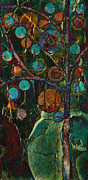 Dark Turquoise Prints - Bubble Tree - spc01ct04 - Left Print by Variance Collections