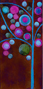 Brown Digital Art Framed Prints - Bubble Tree - w02d - Left Framed Print by Variance Collections