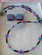 Charcoal Jewelry - Bubblegum Checkers by Kristin Lewis