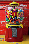 Round Framed Prints - Bubblegum machine and gum Framed Print by Garry Gay