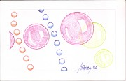 Bubbles Drawings Prints - Bubbles and Orbs Print by Rod Ismay