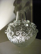 Glass Etching Glass Art - Bubbles Glass by Jeff Sie
