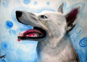 Husky Dog Paintings - Bubbles by Nicholette  Haigler