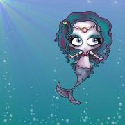 Mermaid Digital Art Prints - Bubbley Boo Print by Shannon Rene Justice