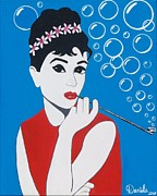 Actors Painting Originals - Bubbly Audrey by Daniela Antar Power