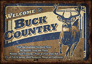Camping Framed Prints - Buck Country Sign Framed Print by JQ Licensing