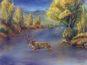 Wyoming Paintings - Buck Crossing River by Dawn Senior-Trask