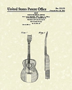 Antique Artwork Drawings Framed Prints - Buck Owens Guitar 1972 Patent Art  Framed Print by Prior Art Design