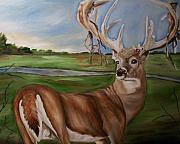 Son Paintings - Buck Shedding Velvet by Mikayla Henderson