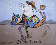 Tooth Mixed Media Prints - Buck Tooth Print by Anthony Falbo
