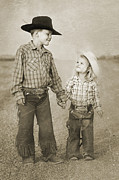 Little Boy Framed Prints - Buckaroo Friends Framed Print by Cindy Singleton