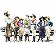 Cowgirls Prints - Buckin Horse Suffragettes Print by Shirley Morris