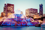 Treatment Posters - Buckingham Fountain and Chicago Skyline at Night Poster by Paul Velgos