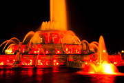 Fountains Posters - Buckingham Fountain at Night in Chicago Poster by Paul Velgos