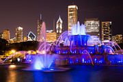 Famous Buildings Posters - Buckingham Fountain at Night with Chicago Skyline Poster by Paul Velgos