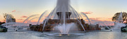 Chicago Fountain Prints - Buckingham Fountain at Sunset Print by Twenty Two North Gallery