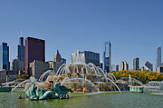 Skylines Posters - Buckingham Fountain Chicago Poster by Christine Till