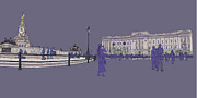 Buckingham Palace Digital Art Posters - Buckingham Palace, Queen Vctoria Memorial, London Poster by Simon Carter