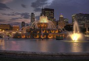 Lake Shore Drive Prints - Buckingham Tonight Print by David Bearden