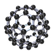 Nerd Framed Prints - Buckminsterfullerene or Buckyball C60 18 Framed Print by Russell Kightley