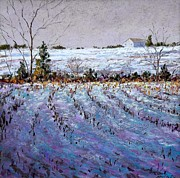 Winter Landscape Pastels Framed Prints - Bucks County January Fields Framed Print by Bob Richey
