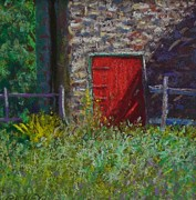 Barn Door Pastels Framed Prints - Bucks County Red Barn Door Framed Print by Bob Richey
