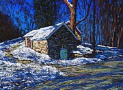 House Pastels - Bucks County Spring House in Winter by Bob Richey