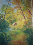 Autumn Foliage Pastels Prints - Bucks Garden Autumn Landscape Print by Susan Haiken