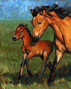 Foal Paintings - Buckskin and Baby by Pat Burns