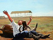 Bull Paintings - Bucky Gets the Bull by Tom Roderick