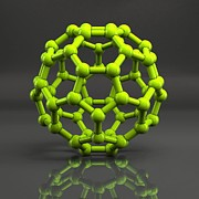 Geodesic Prints - Buckyball Molecule C60, Artwork Print by Laguna Design