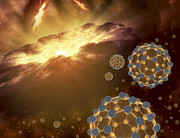 Molecules Posters - Buckyballs Floating In Interstellar Poster by Stocktrek Images