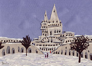 Winter-landscape Tapestries - Textiles Prints - Budapest Fisher Bastion Print by Marina Gershman