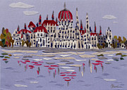 Reflection Tapestries - Textiles Prints - Budapest Parliament Print by Marina Gershman