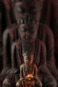 Buddah Prints - Buddah with Lotus Flower Print by Judi Quelland