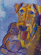 Meditation Paintings - Buddha and Airedale by Ilisa  Millermoon
