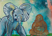 Meditation Painting Originals - Buddha and Divine Baby Elephant by Ilisa  Millermoon