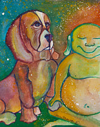 Mother Earth Paintings - Buddha and Divine Basset Hound by Ilisa  Millermoon