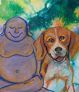 Beagle Paintings - Buddha and Divine Beagle by Ilisa  Millermoon