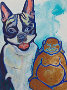 Meditation Paintings - Buddha and Divine Boston Terrier by Ilisa  Millermoon